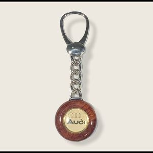 **Audi Silver And Wood Keychain 925. Stamped**